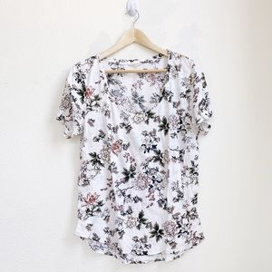 Lucky Brand | Floral White Scoop Neck Shirt